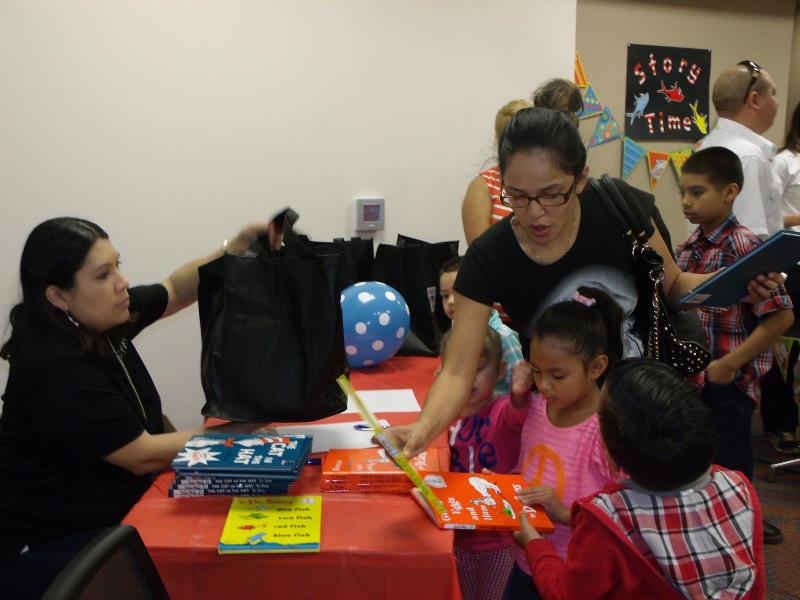 Photo: Children were given Dr. Seuss books and gift bags