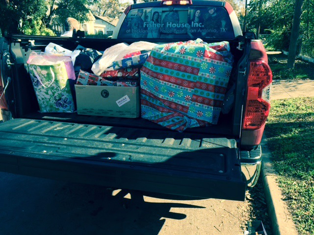 Photo: Pickup truck filled with presents