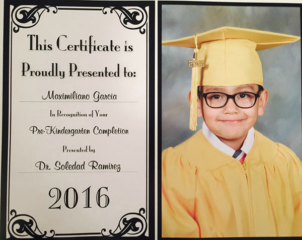 Photo: Head Start Graduate Maximilano
